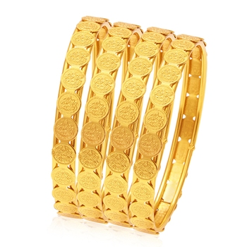 Glamorous Temple Jewellery Gold Plated Coin Bangle For Women