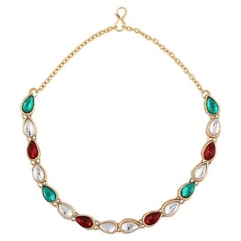 Maroon Green Kundan tear drop anklet payal Indian jewellery