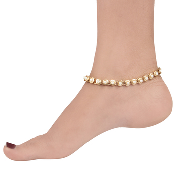 Round flower faux pearl anklet payal Indian jewellery