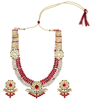 Rani pink green stone flower golden pearl necklace jewelery set