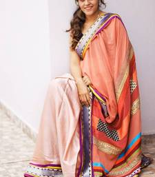 Buy Peach satin saree satin-saree online