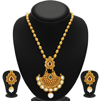 Marvellous Gold Plated Kundan Necklace Set For Women