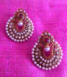 Buy Beautiful dark pink rani pearl polki earrings by adiva c6r gifts-for-her online