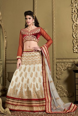 d0160b38b1 Weding Special Special White Heavy Silk Lehenga Red brocade Choli -  MahaveerCrafts - 851354
