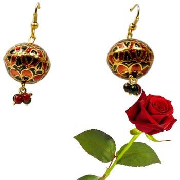 Red Black Meenakari Brass Ear Ring Valentine Gift