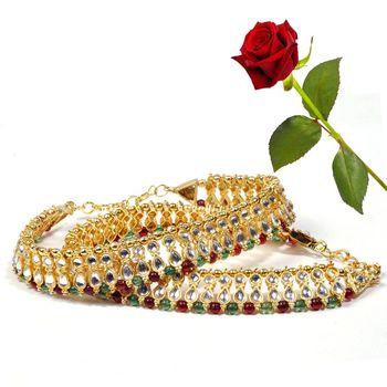 Colourful Kundan Brass Payal Anklet Valentine Gift
