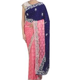 Buy pink and blue embroidered velvet saree with blouse velvet-saree online