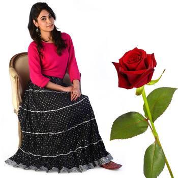 Rajasthani Booti Cotton Long Skirt Valentine Gift