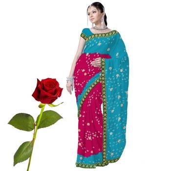 Marvellous Chiffon Tie n Dye Saree Valentine Gift