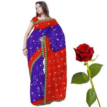 Traditional Tie n Dye Chiffon Saree Valentine Gift
