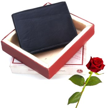 Quality Leather Gents Black Wallet Valentine Gift