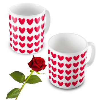 Hearts Print Coffee Mug Pair n Rose Valentine Gift