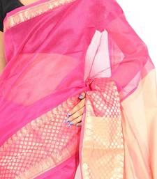 Buy Supernet Cotton Fancy Banarasi Border Aanchal Saree supernet-saree online