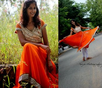 Orange net kurti with embroidered brocade