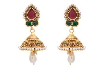 Mind Blowing Gold Designer Temple Jhumka