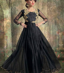 Buy Black embroidered net semi stitched party-wear-gowns party-wear-gown online