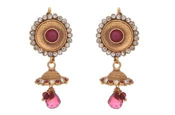 76dcbec4c8 JFL - Traditional Ethnic One Gram Gold Plated Austrian Diamond Pink Stone  Designer Jhumka