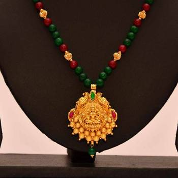 bccfa01503 Anvi's lakshmi (temple jewellery) pendent with a combination of rubies and  emeralds beads - Ratna Varma Polakonda - 95406