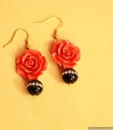 Rose Cut Coral & Pearl Earrings