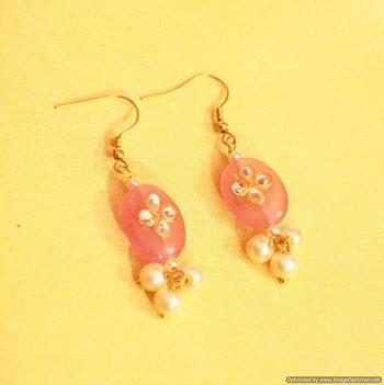 Kundan Pink Onyx & Pearl Earrings