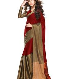 Buy Red and Gold printed cotton saree with Blouse gifts-for-wife online