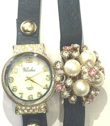 Buy Black  Strap Diamond Ladies Watch Cute Flower Table Header gifts-for-her online