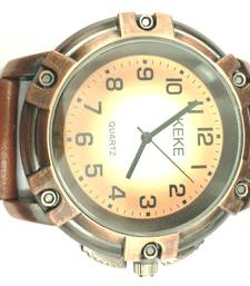 Buy Vintage Screw Design Quartz Brown Leather Strap Mens Wristwatch gifts-for-him online