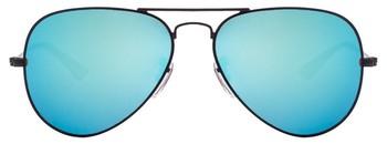 Black Frame Sky Bluesh Reflector Mirror Flat Aviator Sunglass