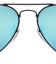 Buy Black Frame Sky Bluesh Reflector Mirror Flat Aviator Sunglass sunglass online