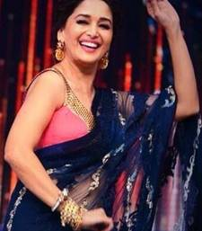 Buy Madhuri Dixit Net Fabric Replica Bollywood Jade Blue Saree worn by her in Jhalak Dikhla Jaa  madhuri-dixit-saree online