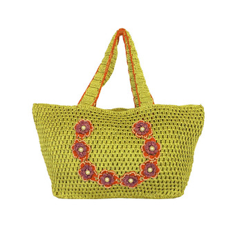 Outsized Crochet Shoulder Handbag | Mehendi Green
