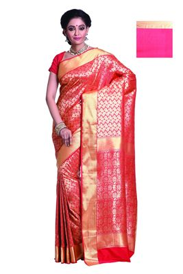 9574bf3b8618cc Chilli Red and Golden woven art silk saree with blouse - Aayori - 861937