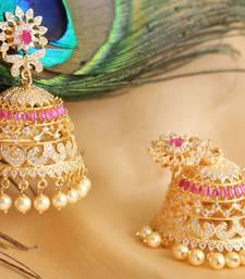 Gorgeous goldplated cz -ruby designer royal jhumkka dj01006