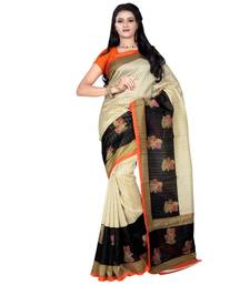 Buy Beige printed dupion_silk saree with blouse printed-saree online