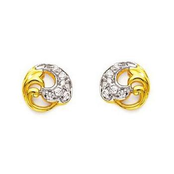 Sterling Silver Fancy Swirl Glass Shape Earring