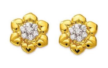 Sterling Silver Neautiful Flower Shape Diamond Earring