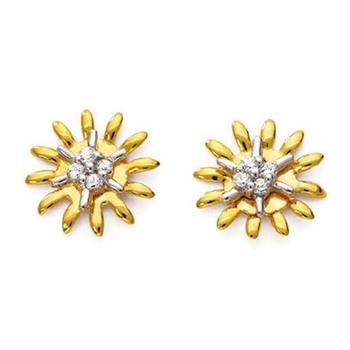 Sterling Silver Fancy Flower Shape Diamond Earring