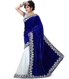 Buy Blue and White Embroidery Velvate saree with blouse velvet-saree online