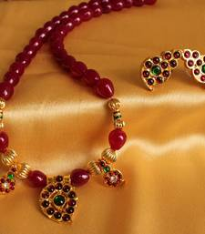 Buy GORGEOUS RUBY MANGO TEMPLE PENDANT NECKLACE SET necklace-set online