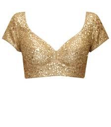 Buy  Beige designer raw silk embroidered unstitched blouse for women women-ethnic-wear online
