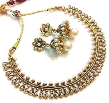 White Pearl polki necklace set