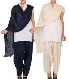Buy Combo Pack of 2 Pure Cotton Semi Patiala & Cotton Dupatta with Lace Set patialas-pant online