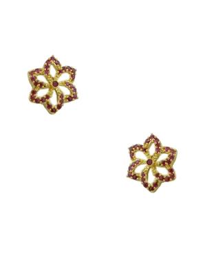 Ruby Red CZ AD American Diamond Stud Earrings Jewellery for Women - Orniza