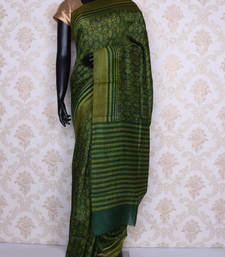 Buy Green printed faux tussar silk saree with blouse tussar-silk-saree online