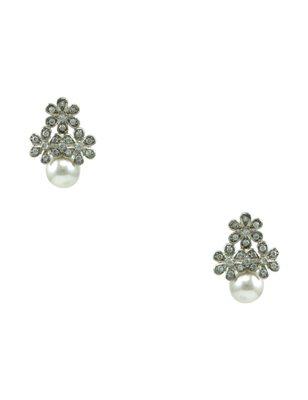Pearl White CZ AD American Diamond Drop Earrings Jewellery for Women - Orniza