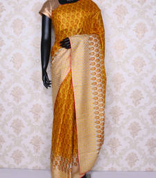 Buy Yellow printed faux tussar silk saree with blouse tussar-silk-saree online