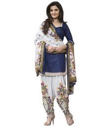 Buy Bikaw Printed Blue Cotton Fashion Patiyala Style Casual Wear Unstitched Suit. - SF214 punjabi-suit online