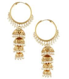 Kundan golden bali hoop jhumka jhumki pearl earring