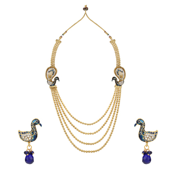 Ethnic Indian Bollywood Fashion Jewelry Set Golden Necklace Set