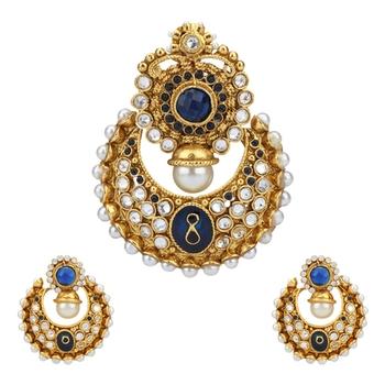 Deep Blue Classic Design Pearl Polki Meenakari Pendant Necklace Jewelery Set